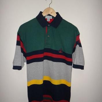 New Year Sale Vintage IZOD Multi Color Polo Shirt 1990s MEN'S Golf Stripes