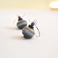 Black, Purple and Blue Earrings, Artisan Lampwork Glass Bead Earrings