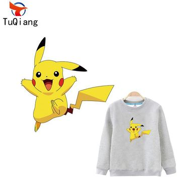 5pcs  go Lovely Pikachu Iron On A-level Patches Heat Transfer Pyrography For DIY Clothes Bags Decoration Printing 18*18CMKawaii Pokemon go  AT_89_9