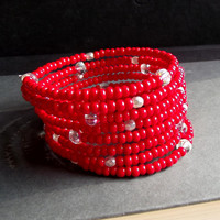 Bright Red Beaded Bracelet:  Extra Wide Cuff, 8 Wrap Bracelet, Red and White Arm Candy, Wrist Party