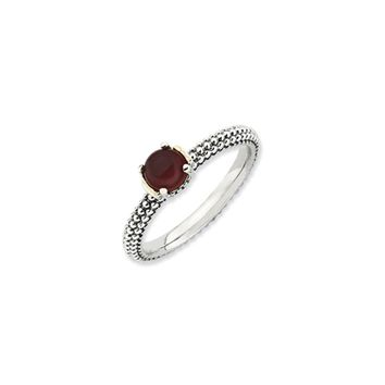 Antiqued Sterling Silver & 14K Gold Plated Stackable Red Agate Ring