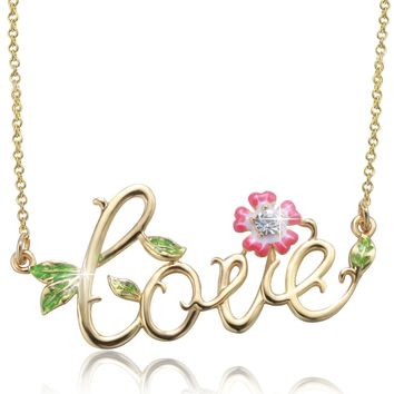 """""""Only Love"""" Script Necklace,Crystal from Swarovski,Wedding Birthday Anniversary Gifts for Women"""