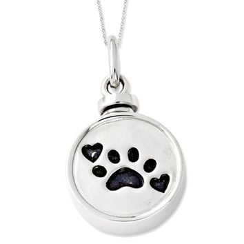 Sterling Silver & Enameled Paw Print Ash Holder Necklace, 18 Inch