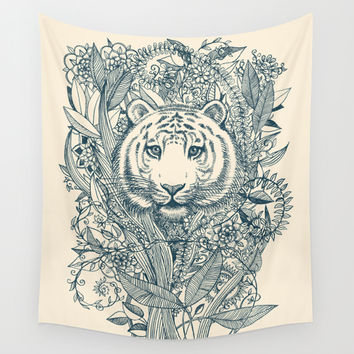 Tiger Tangle Wall Tapestry by Micklyn
