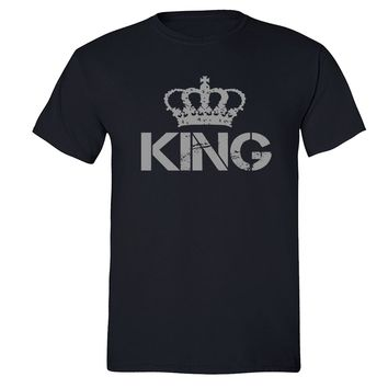 XtraFly Apparel Men's King Silver Crown Matching Couples Crewneck Short Sleeve T-shirt