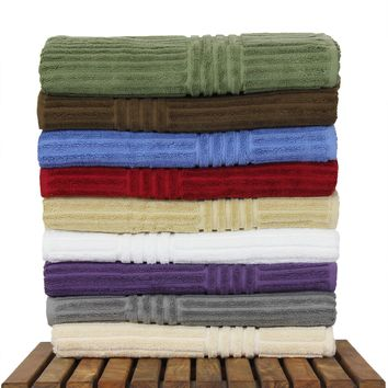 Luxury Hotel & Spa Towel Turkish Cotton Bath Towels - Mix Color - Stripe - Set of 4
