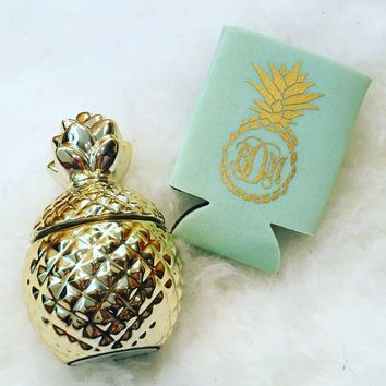 Pineapple Monogrammed Can Cooler