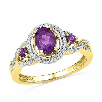 10kt Yellow Gold Women's Oval Lab-Created Amethyst Solitaire Diamond Ring 1.00 Cttw - FREE Shipping (US/CAN)
