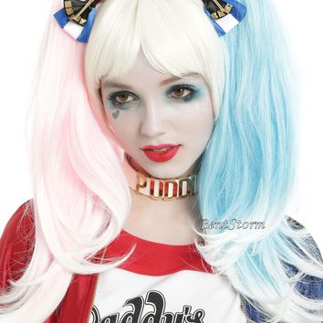 Licensed cool Suicide Squad Harley Quinn 2 PK Set BAT Costume Cosplay Hair Bow Clip DC