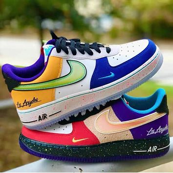 NIKE Air Force 1 Mandarin duck New fashion hook sports leisure low top couple shoes
