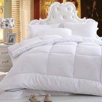 DaDa Bedding Light Fluffy Puffy Comfy Cozy Soft Warm Solid White Alternative Down Comforter Duvet Quilt Insert Filler - 1-Piece (QF098765)