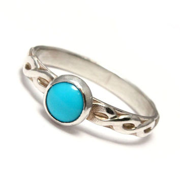 Turquoise ring, sterling silver ring, handcrafted artisan ring, Arizona sleeping beauty turquoise, promise ring, December birthstone,