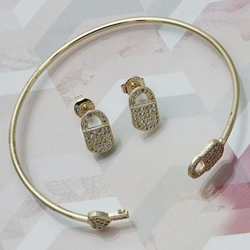 Gold Layered Women Lock Set Bangle, with White Micro Pave, One size fits all by Folks Jewelry