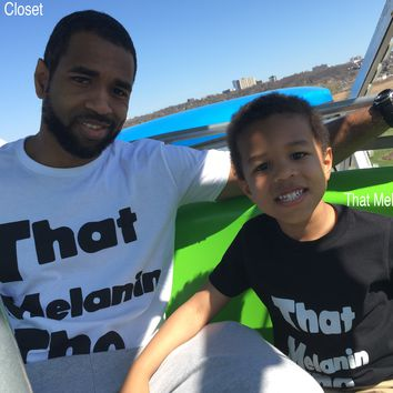 That Melanin Tho™ - DADDY & ME Set - Black & White Shirt Set