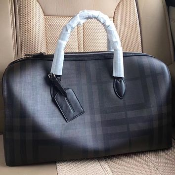 BURBERRY PLAID CANVAS TRAVEL BAG