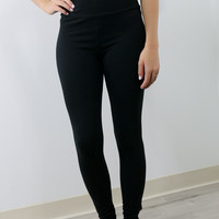 The New Age Black High Waisted Basic Leggings