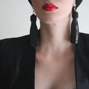 Black Leather Long Earrings Leather Jewelry Leather Tassel Earrings Elegant Jewelry / Black Sparkly Leather Earrings