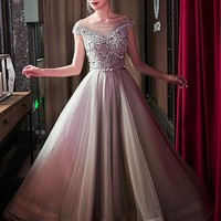 [125.99] Gorgeous Tulle Bateau Neckline A-line Prom Dresses With Beadings - dressilyme.com