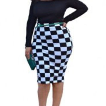 Off-Shoulder Plaid Spliced Midi Bodycon Plus Size Dress