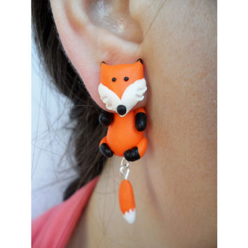 Fox clinging earrings, Fake Gauge, animal jewelry, two part earrings fox jewellry