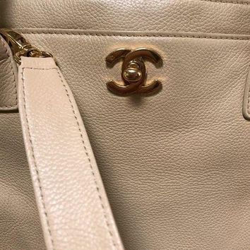 ONETOW Chanel Executive Cerf Tote Bag Caviar Beige Gold Hardware With Shoulder Strap