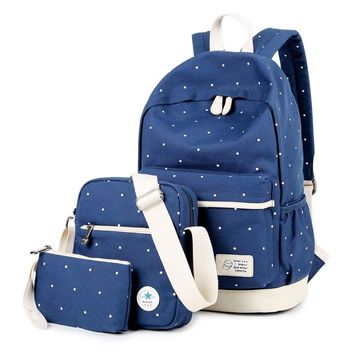 Day-First™ Canvas Travel Bag 3 Pieces Laptop Bookbag College Backpack Daypack
