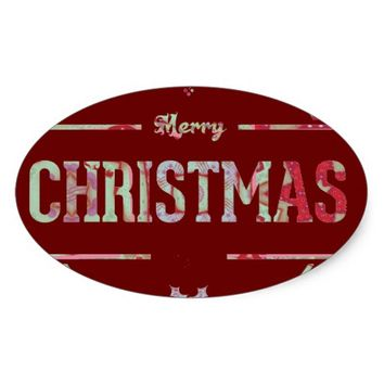 Merry Christmas Greeting Oval Sticker