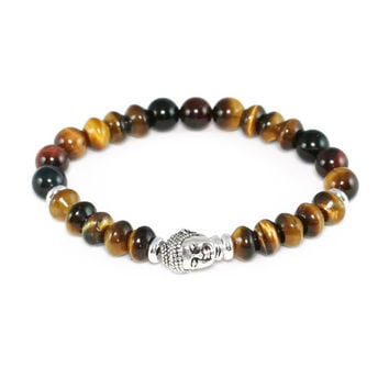 Mixed Tiger Eye Men's Buddha Bracelet