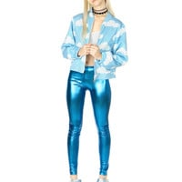 METALLIC AQUA LEGGINGS