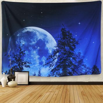 Blue Moon Night Sky Bohemian Wall Tapestry