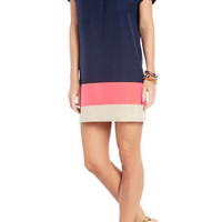 BLAIRE COLOR-BLOCKED SILK SHIRTDRESS