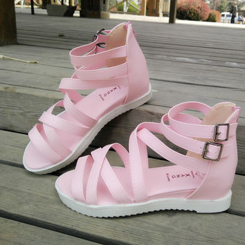 Summer Pink Leather Beach Slippers Sandals