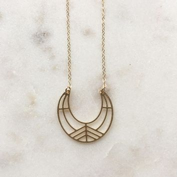 Geometric Matte Gold Plated Crescent Moon Necklace
