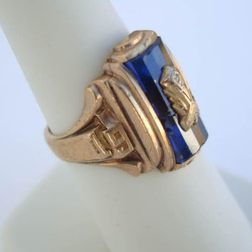 Kansas 1954 Spies Class Ring 10K Gold Cobalt Blue Size 7 Vintage Jewelry