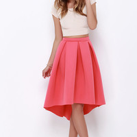 High Seas, Low Tide Coral High-Low Padded Midi Skirt