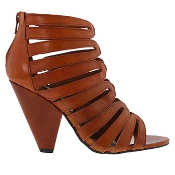 Steve Madden Burnett Cognac- Leather Cage Sandal