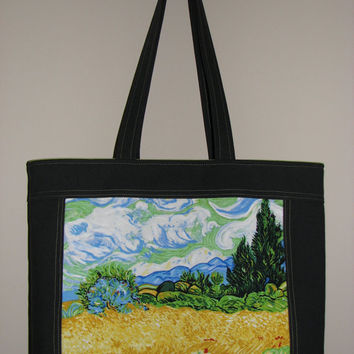 Quilted Tote Bag , Cotton Canvas Purse , Vincent Van Gogh Wheat Field With Cypresses Panel