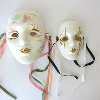 20% OFF SALE vintage white ceramic Mardi Gras masks / small painted masks / New Orleans wall hangings