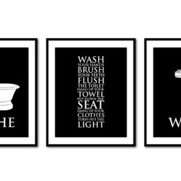 Bathroom Wall Art Trio - Bathroom Rules - Bathe - Wash - Typography Art Print - 8 x 10 or 11 x 14 print Vintage, Chalkboard, Black and white