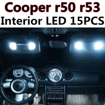 15pcs X free shipping Error Free LED Interior Light Kit Package for MINI Cooper r50 r53 S JCW accessories 2001-2006
