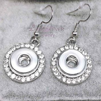 ac spbest high quality 01 Hot Sale Rhinestones 12mm Snaps Button Earring For Women Charms White K Plated Design Snaps Earrings Jewelry
