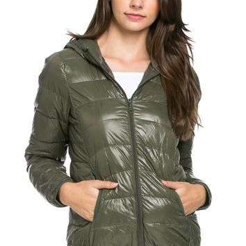 Lightweight Puffer Down Hooded Jacket Olive