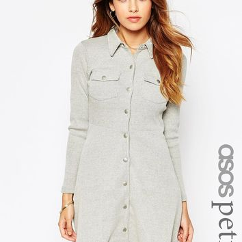 ASOS PETITE Button Through Dress in Rib Texture