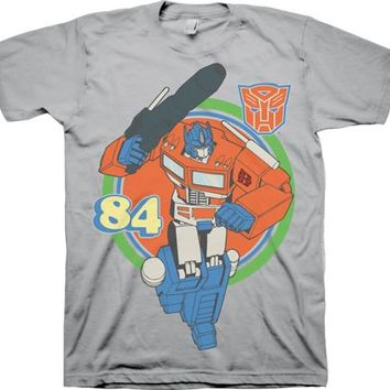 Transformers Optimus Prime Retro 84 Adult Silver T-Shirt - Transformers - | TV Store Online