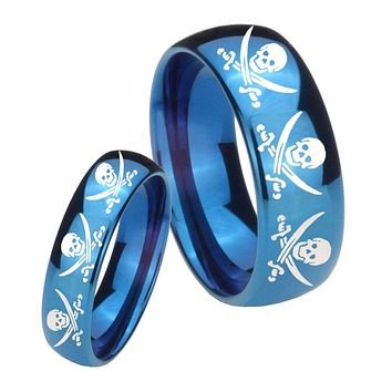 His Hers Mirror Blue Dome Multiple Skull Pirate Tungsten Carbide Wedding Rings Set