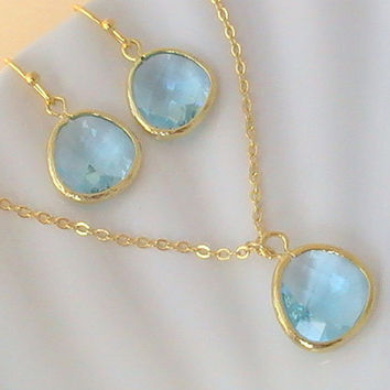 Gold Aquamarine Necklace, Tiffany Blue Necklace, Wedding Something Blue Jewelry, Light Blue Necklace, Aqua Blue Necklace  by Crystalshadow