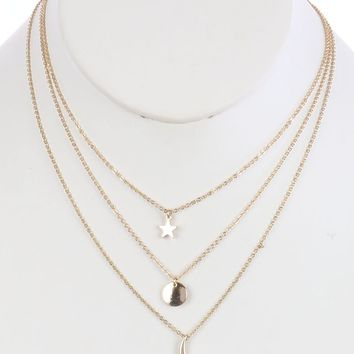 Gold Metal Star Charm Three Layer Chain Necklace