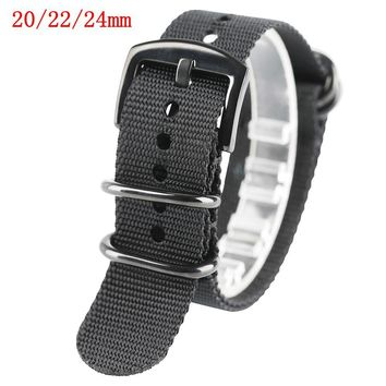 20/22/24mm Watch Strap Band Nylon Replacement Steel Pin Buckle Outdoor Army Style Two Colors Military Bracelet Soft Watch Strap