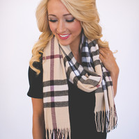 Plaid Scarf- Tan