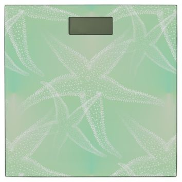 Starfish Green Cream Beach Bathroom Scale
